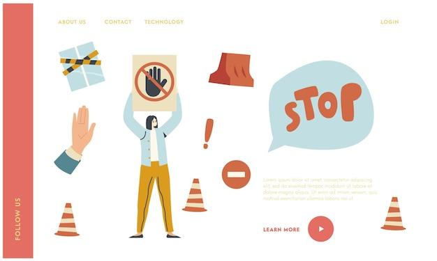 Frau schützen geschlossenes gebiet landing page template