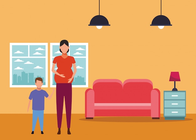 Frau schwanger mit kinderavatarazeichentrickfilm-figur