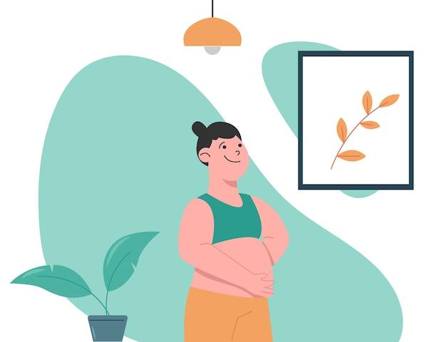 Frau schwanger und berührt den bauch