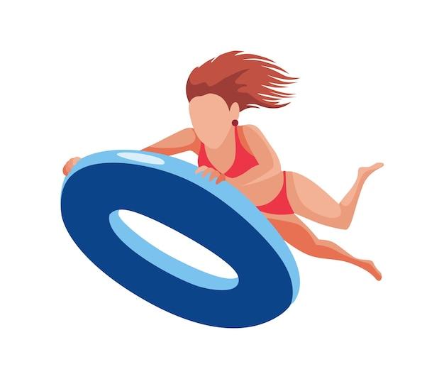 Frau schwimmt auf luftmatratze. lustige weibliche figur. junge dame, die auf aufblasbarem ring schwimmt. flache karikaturillustration der sommerzeit