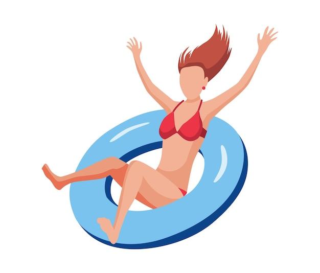 Frau schwimmt auf luftmatratze. lustige weibliche figur. junge dame, die auf aufblasbarem ring schwimmt. sommer flache cartoon-illustration.