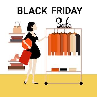 Frau shopping kleidung mode shop black friday big sale