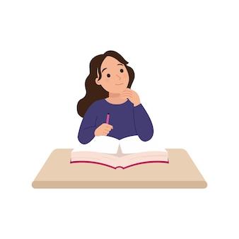 Frau sitzt am schreibtisch und denkt über ideen nach