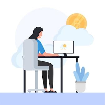 Frau sitzt auf dem schreibtisch und bitcoin hinter der metapher des cloud-mining