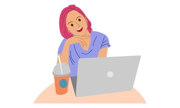 Frau sitzt auf dem stuhl und arbeitet mit laptop