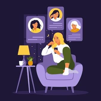 Frau sitzt auf sofa mit telefon. freunde telefonieren am abend. freunde chatten. flacher stil.