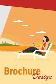 Frau sitzt auf strandkorb am see. kaffeetrinken, mit tablette, arbeiten im freien flache vektorillustration. freiberufliches kommunikationskonzept