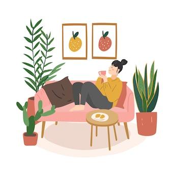 Frau sitzt entspannt beim essen und trinkt eine tasse tee kaffee. moderner flacher cartoonstil.