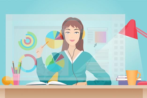 Frau sitzt gegenüber dem virtuellen bildschirm