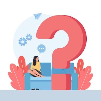 Frau sitzt und sieht große fragezeichen-metapher des denkens