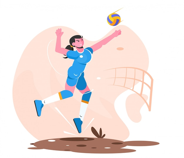 Frau spieler volleyball zerschlagen flache illustration