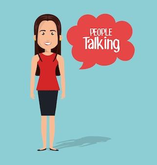 Frau sprechen chat blase isoliert