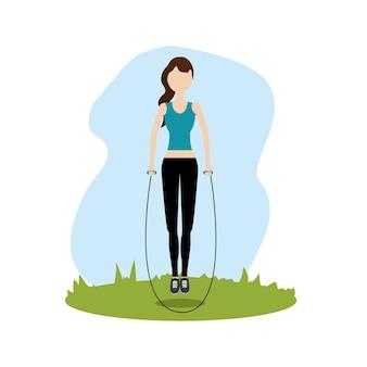 Frau springen, um sport zu treiben