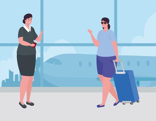 Frau stehend, um einzuchecken, um für flug zu registrieren, frau mit gepäck, das auf flugzeugabflug am flughafenvektorillustrationsentwurf wartet