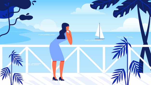 Frau steht am wasser sieht meer und segelboot.
