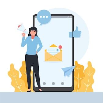 Frau steht vor telefon mit briefmetapher der öffentlichkeitsarbeit