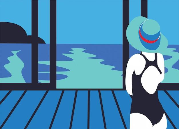 Frau strandurlaub
