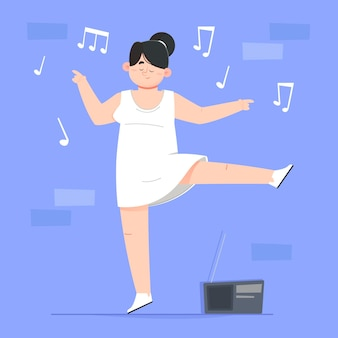 Frau tanzt im weißen kleid