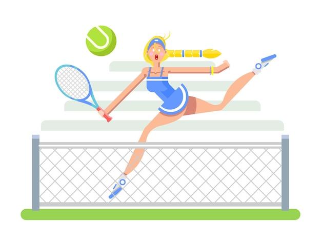 Frau tennisspieler cartoon-figur sport-spieler-mädchen-schläger und ball flache vektor-illustration