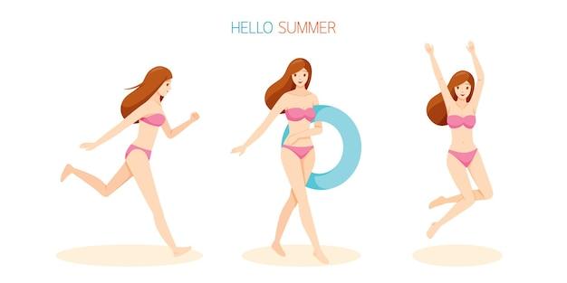Frau trägt bikini mit verschiedenen aktionen, läuft, springt und hält aufblasbaren gummiring