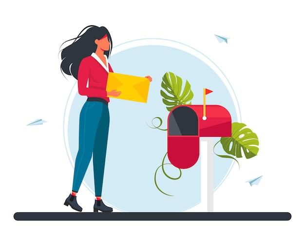 Frau trägt einen brief im briefkasten. e-mail-konzeptillustration, newsletter abonnieren, e-mail-marketing-unternehmen. mädchen trägt einen brief an die post. vektor-illustration