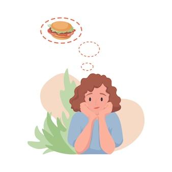 Frau träumt von flacher karikaturillustration des hamburgers. hungrige frau, die fast food essen möchte.