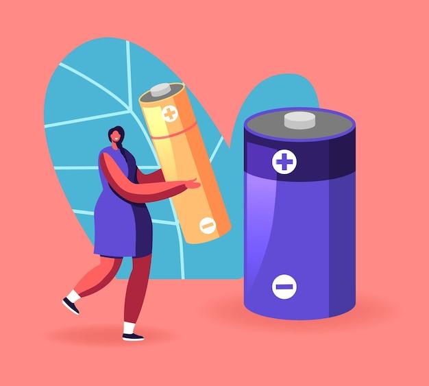 Frau tragen riesige batterie, um müll in speziellen abfallbehälter zu werfen, um müll zu recyceln, abfall zu sortieren und zu trennen. cartoon-illustration
