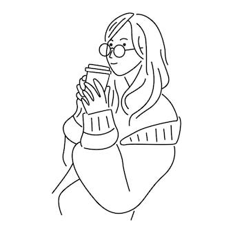 Frau trinken eiskaffee