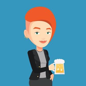 Frau trinkt bier.