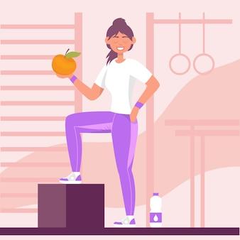 Frau turnt mit einem apfel statt einer hantel in der turnhalle sport treiben