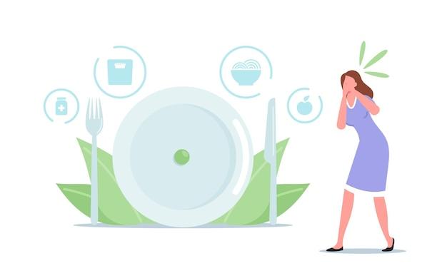 Frau übelkeit beim zuschauen von speisen. magersucht oder bulimie ungesundes lebenskonzept. weibliche figur mit psychischer störung verweigern das essen, verlieren gewicht, fühlen sich schuldig. cartoon-menschen-vektor-illustration