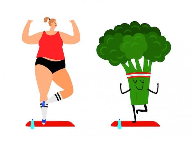 Frau und brokkoli machen yoga Premium Vektoren