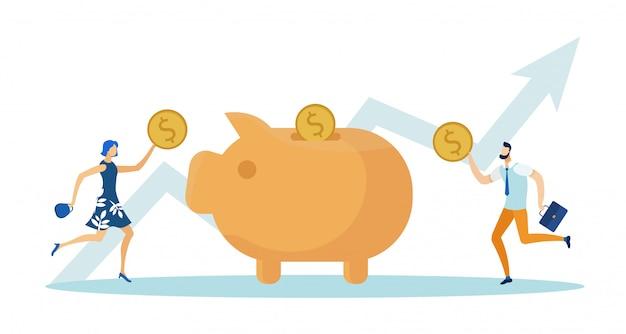 Frau und dollar-münzen in sparschwein setzen.