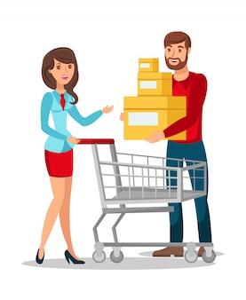 Frau und ehemann, die flache vektor-illustration kaufen