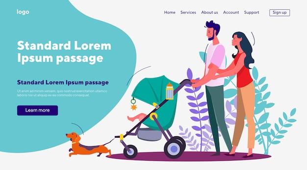 Frau und ehemann gehen mit baby im kinderwagen und im hund