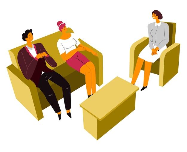 Frau und ehemann im gespräch mit professionellen psychologen, familienberatung und therapie. freund und freundin, die mit problemen in paaren umgehen. kommunikation von geliebten, vektor im flachen stil