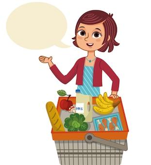Frau und einkaufskorb sprechballon-vektor-illustration