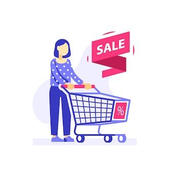 Frau und einkaufswagen