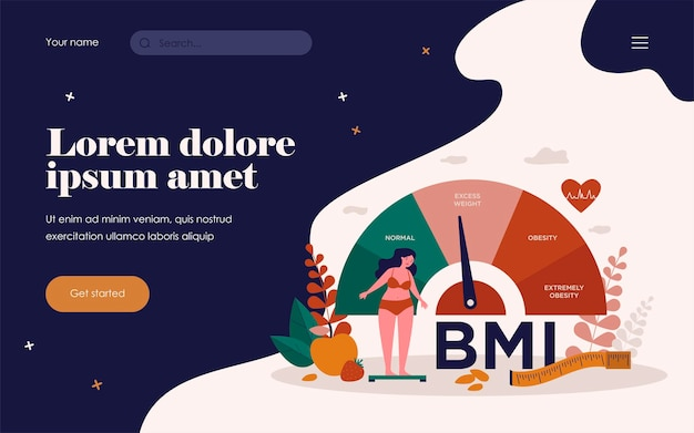 Frau und fettleibige diagrammskalen lokalisierten flache vektorillustration. karikaturperson auf diät, die gewichtskontrolle mit bmi versucht. body-mass-index und fitnessübungskonzept