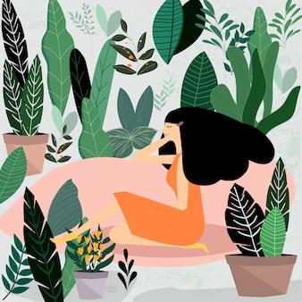 Frau und ihr blumengarten