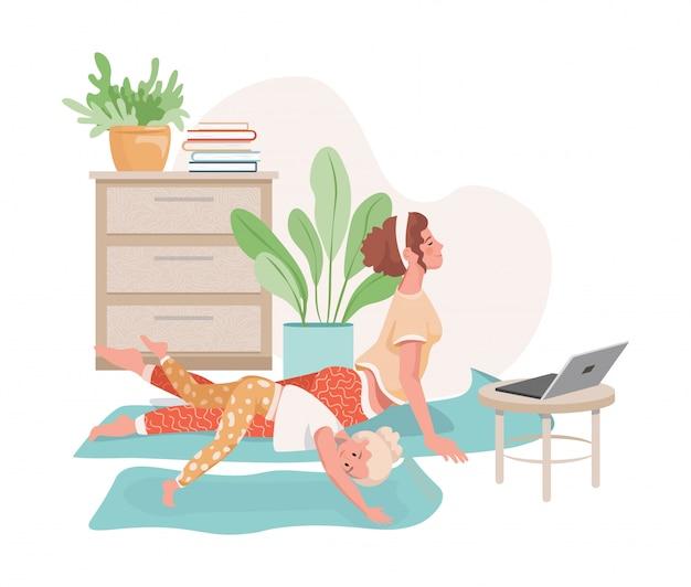 Frau und ihre tochter machen yoga, pilates oder strecken sich zu hause zusammen mit video-lektionen flache illustration.