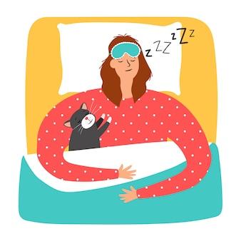 Frau und katze schlafen