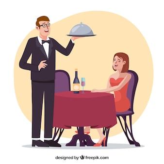Frau und kellner im eleganten restaurant