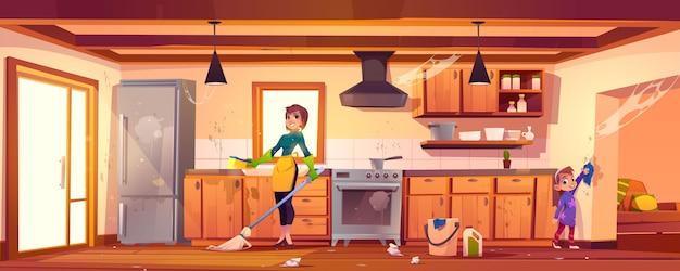 Frau und mädchen, die reinigung auf küche tun