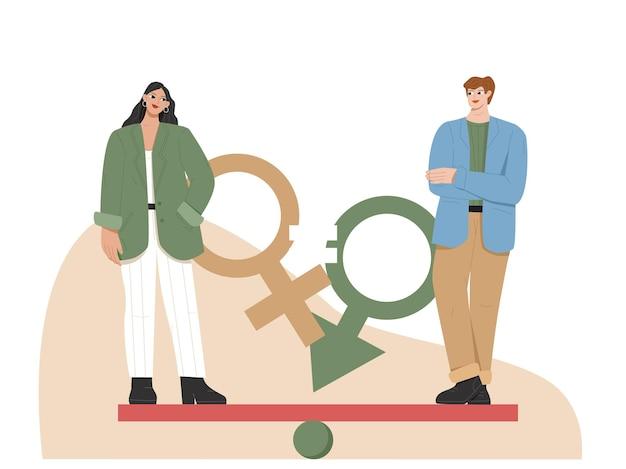 Frau und männer haben gleichheit flache illustration