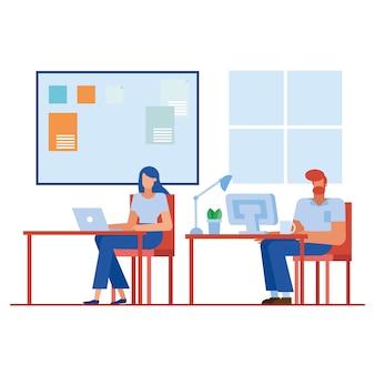 Frau und mann am schreibtisch im bürodesign, in der belegschaft der geschäftsobjekte und im unternehmensthema