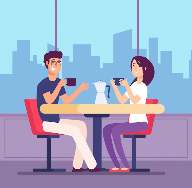Frau und mann bei tisch mit coffe schalen im café flirten.