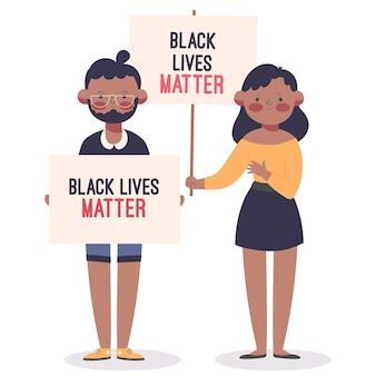 Frau und mann, die am schwarzen leben teilnehmen, protestieren