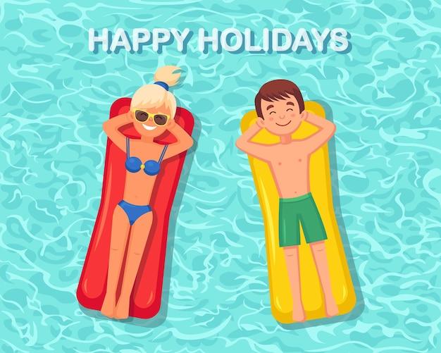 Frau und mann, die auf luftmatratze in der schwimmbadillustration bräunen