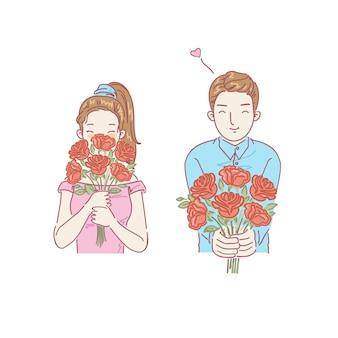 Frau und mann, die blumen halten. handgezeichnete stil. valentinstag.